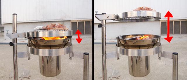 バーベ缶の焼き網高さ調整の様子